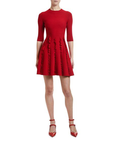 Valentino 1/2-Sleeve Ruffled Stretch Jersey Dress