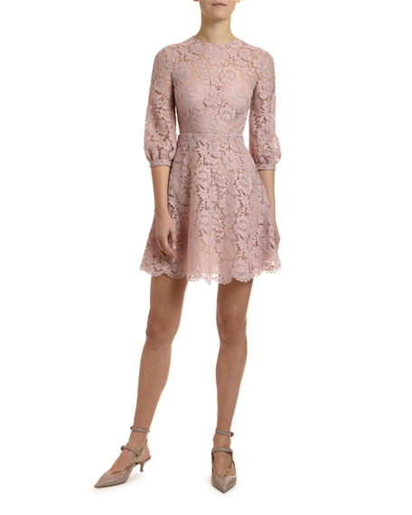 Valentino 3/4-Sleeve Heavy Lace Dress