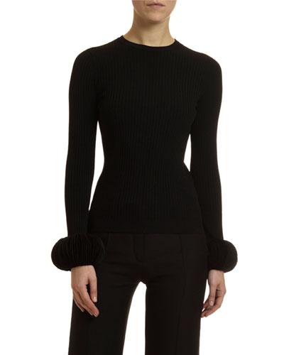 Disc-Cuff Crewneck Sweater