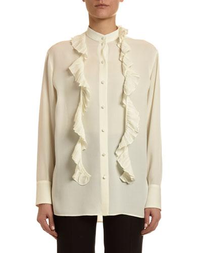 Long-Sleeve Georgette Crinkled Blouse