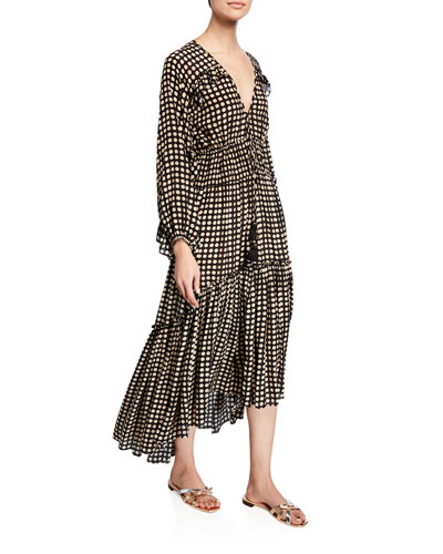 Alessia Moon-Dotted Long-Sleeve Dress