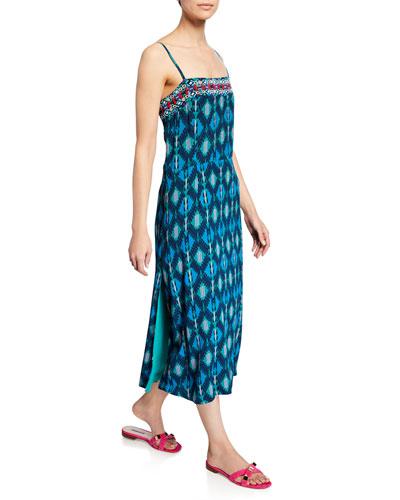 Olatz Iznik Ikat-Print Long Cami Dress