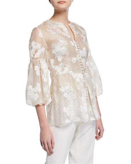 Lela Rose Full-Sleeve Button-Front Embroidered Top