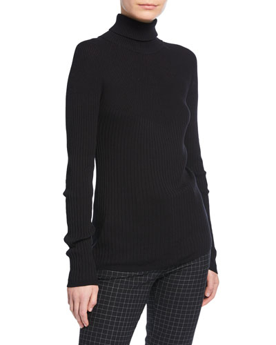 Graduated Rib Turtleneck Sweater