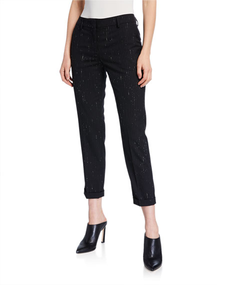 Piazza Sempione Violette Variegated Pinstriped Crop Trousers