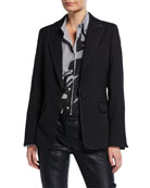 Piazza Sempione Textured Stretch-Wool Blazer with Faux-Leather