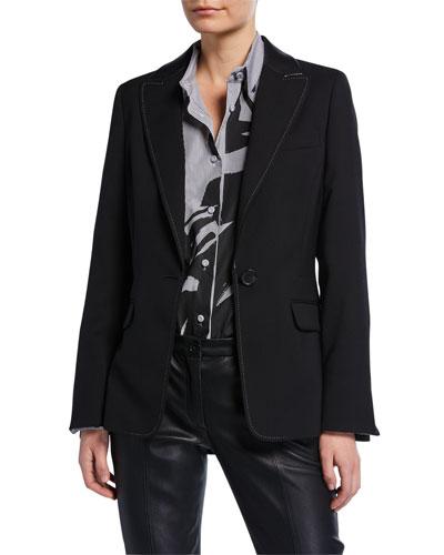 Textured Stretch-Wool Blazer with Faux-Leather Trim