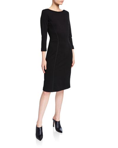Ponte Satin-Trim Bracelet Sleeve Dress