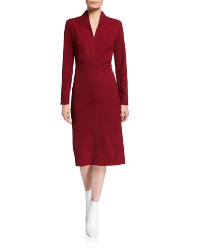 Stitched Funnel-Neck Cocktail Dress