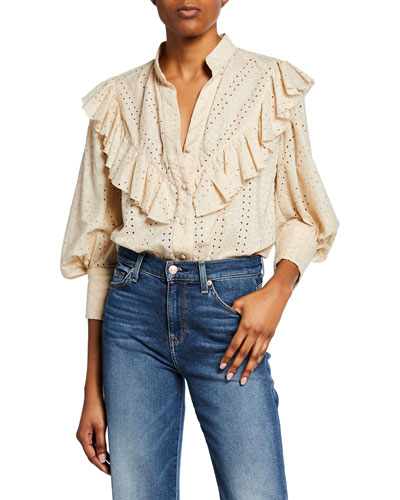 Eyelet Pouf-Sleeve Shirt with Ruffled Yoke