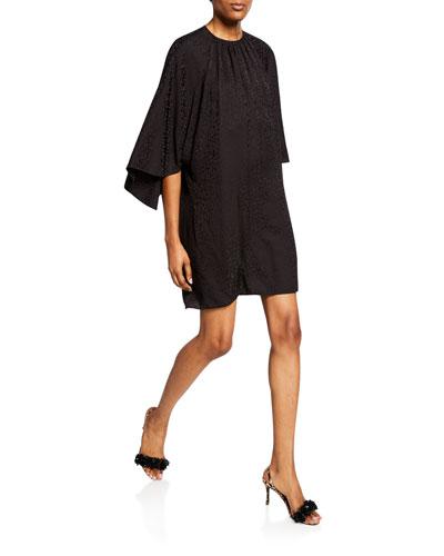 Batwing-Sleeve Jacquard Mini Dress