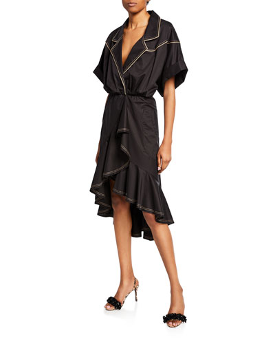 Cap-Sleeve V-Neck Dress