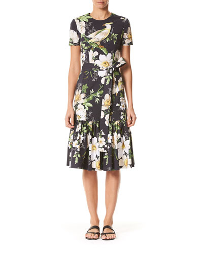 Midnight Floral Short-Sleeve Dress