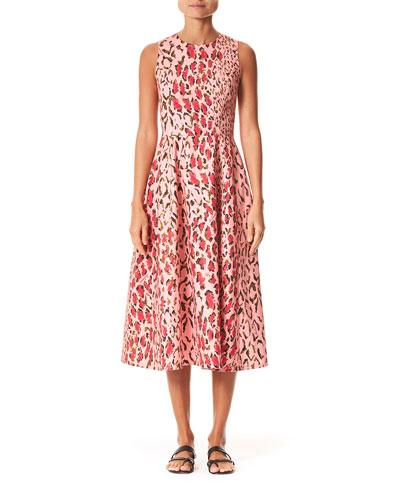 Leopard Print Poplin Midi Dress