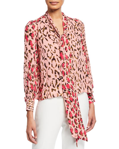 a497275bd9154 Quick Look. Carolina Herrera · Leopard Print Scarf-Neck Blouse