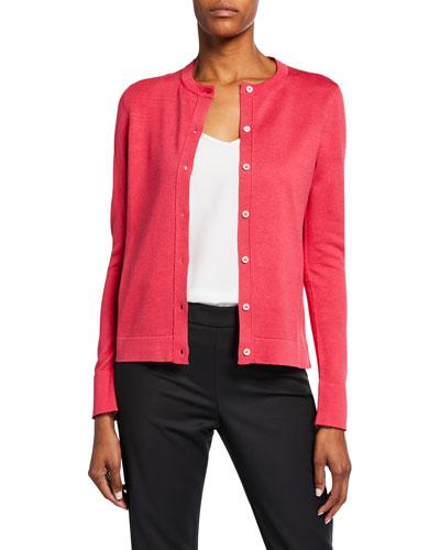 Silk-Cotton Button Front Cardigan