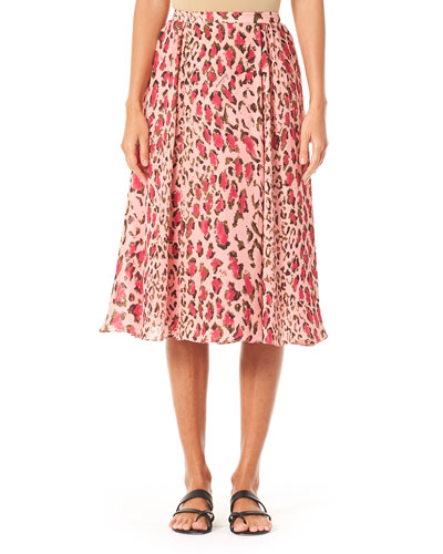 Leopard-Print Gathered Midi Skirt