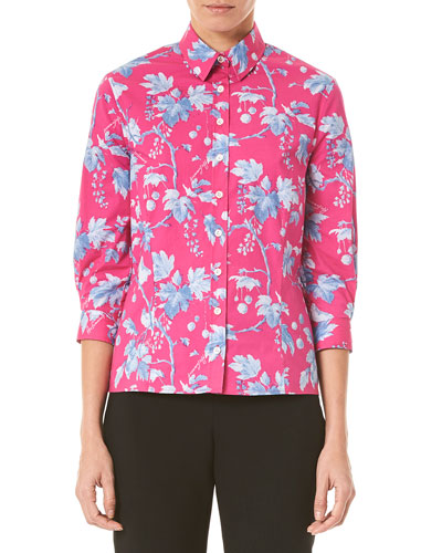 Vine Leaf Print 3/4-Sleeve Shirt