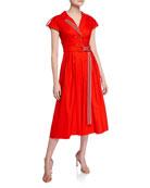 Lela Rose Ribbon-Trim Double-Breasted Midi Shirtdress