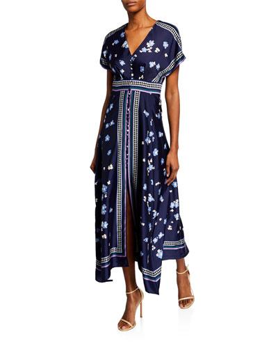 Floral-Print V-Neck Tea-Length Dress