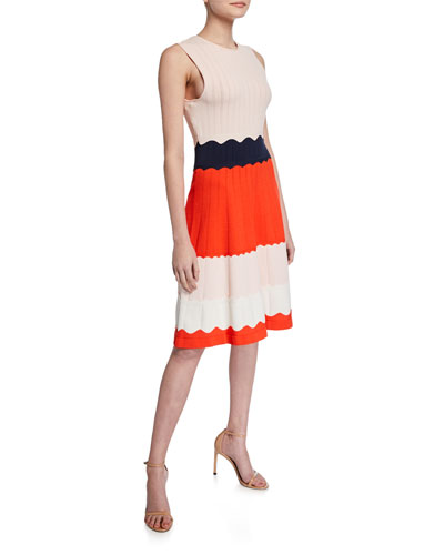 Scalloped Colorblock Knit Fit-&-Flare Dress