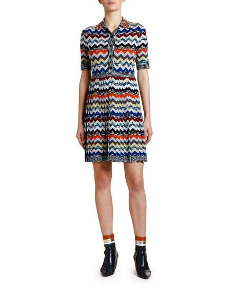 Missoni Pleated Zigzag Polo Dress