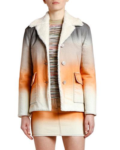 Dip-Dyed Shearling Trim Jacket