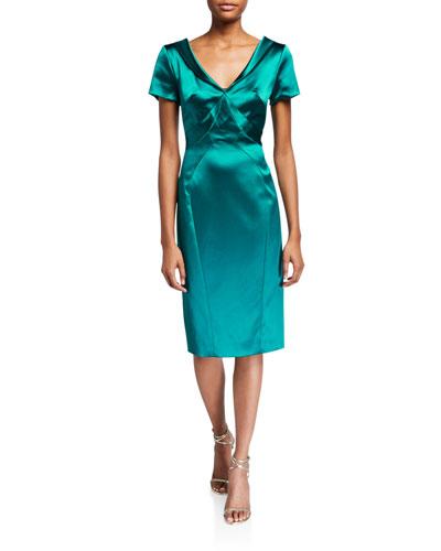 Wide V-Neck Satin Dress