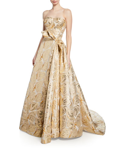 Butterfly-Jacquard Strapless Gown