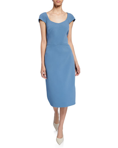 Bonded Crepe Scoop-Neck Dress