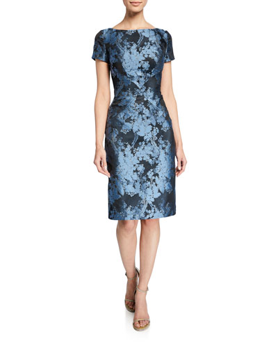 Boat-Neck Floral-Jacquard Sheath Dress