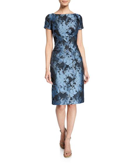Zac Posen Boat-Neck Floral-Jacquard Sheath Dress