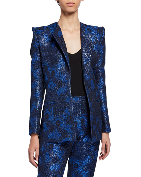 Zac Posen Metallic Party Jacquard Jacket