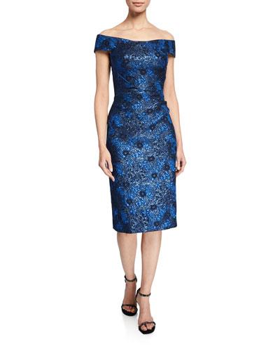 Off-the-Shoulder Metallic Party Jacquard Dress