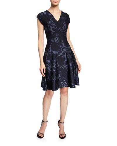 Floral Jacquard Knit V-Neck Dress