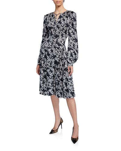 Floral-Print Tie-Neck Blouson-Sleeve Silk Twill Dress