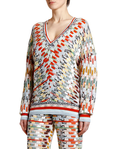 V-Neck Open Weave Space-Dye Sweater