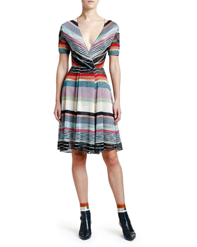 Shimmer-Striped V-Neck Dress