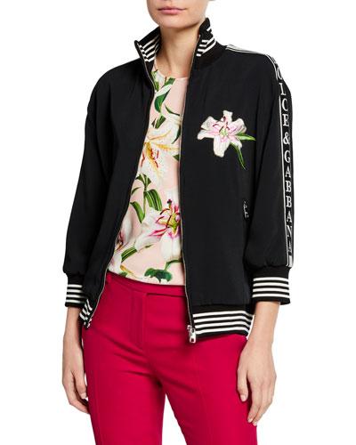 Zip-Front Felpa Jersey Patchwork Sweatshirt