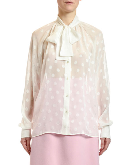 Dolce & Gabbana Jacquard Fil Coupe Tie-Neck Blouse