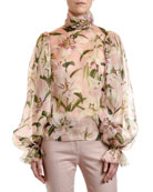 Dolce & Gabbana Lily Organza Turtleneck Blouse and