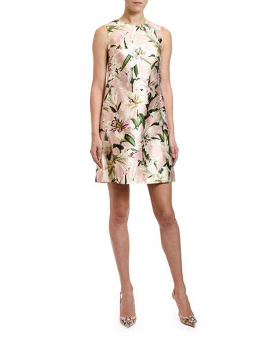 Lily Print Silk Shantung Shift Dress
