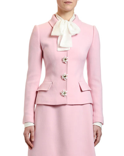 Lily-Snap Wool Crepe Blazer Jacket