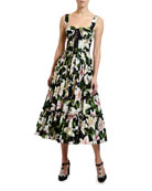 Dolce & Gabbana Lily Print Corset Midi Dress