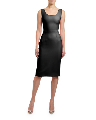 Stretch-Cady Sheath Dress