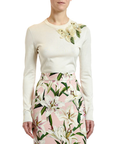Lily-Embellished Silk Sweater