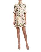 Dolce & Gabbana 1/2-Sleeve Lily-Print Ruffled Cady Dress