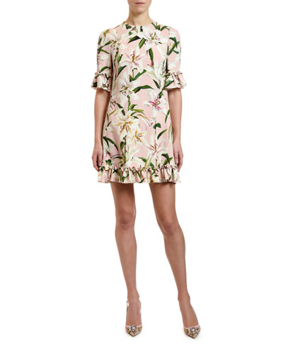 1/2-Sleeve Lily-Print Ruffled Cady Dress