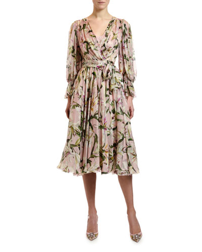 Long-Sleeve Wrapped Lily-Print Chiffon Dress