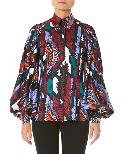 Puff-Sleeve Printed Button-Front Shirt